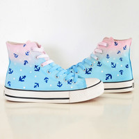 Students kawaii navy anchor canvas shoes