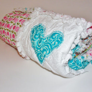Security Blanket, Lovey Rag Quilt,Baby Doll Quilt, Handmade, Summer Breeze by Riley Blake, Pink, Turquoise, White, 28 X 28  Ready To Ship