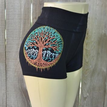 Metallic Tree of Life High Waisted Hot Shorts - Women's Yoga Shorts - Festival Shorts - Sacred Geometry Shorts - Psychedelic Roll Top Shorts