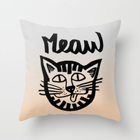 CAT MEAW FACE Throw Pillow by Vasare Nar