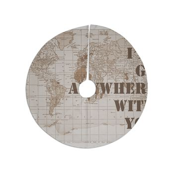 """Catherine Holcombe """"I'll Go Anywhere With You"""" Brown Map Tree Skirt"""