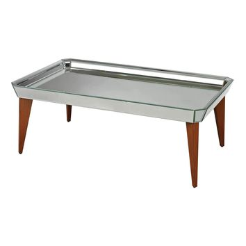 Rushbrook Mid-Century Mirrored Coffee Table By