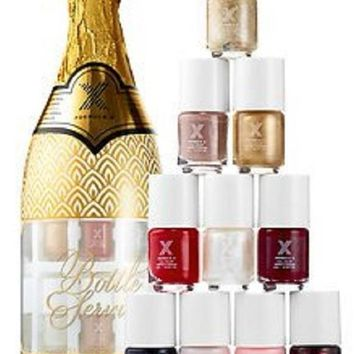 Champagne Bottle Nail Polish Gift Set - Formula X Mini Nail Polish Set with Bestselling Bold and Neutral Shades