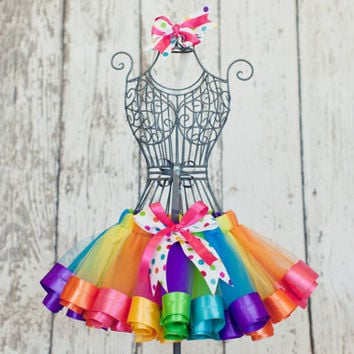 Baby Girl's First Birthday Rainbow Ribbon Trim Sewn Tutu Skirt with Hair Clip and Headband size 12 mo-2T