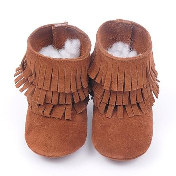 Girls' Winter Boots genuine leather Double fringe suede Tassels