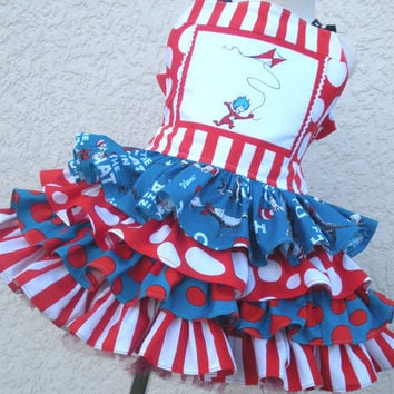 Custom Boutique Cat in Cat Thing 1 2 Dress Seuss 4 Ruffles 12 mo 18 mo 24 mo   2 3