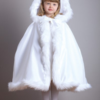 Children's Hooded Satin  Cloak with Faux Fur Trim 3940CL
