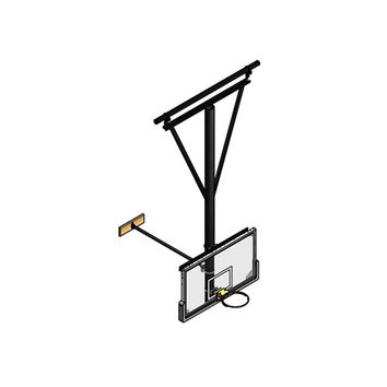 Gared Sports Single Post Ceiling Hung Basketball Backstop, Stationary/Wall Braced