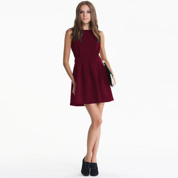 Red Wine Sleeveless Backless Dress with Pleated Skirt
