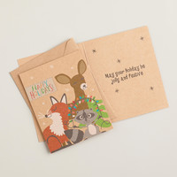 Fox, Deer and Raccoon Boxed Holiday Cards, Set of 15 - World Market