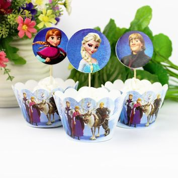 12pcs Wrappers 12 pcs Toppers Disney Frozen Paper Cupcake Wrappers and Topper for Birthday Party Decorations Kids Cakecup Topper