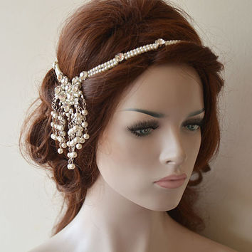Wedding Head Chain, Pearl Hair Jewelry,  Bridal Hair Accessories,  Bohemian Wedding Headpiece, Wedding Hair Accessories
