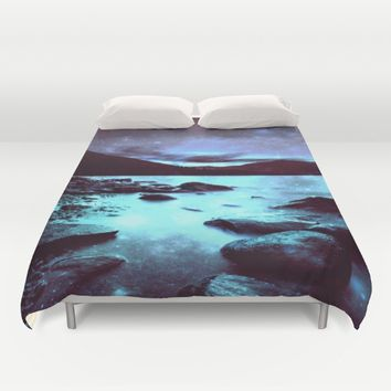 Magical Mountain Lake Violet Aqua Duvet Cover by 2sweet4words Designs