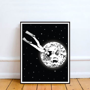 Le Voyage Dans la Lune - A Trip to the Moon, Wall Art Prints, Modern Decor, Black and White Prints, Wall Decor, Wall Prints, Home Decor.