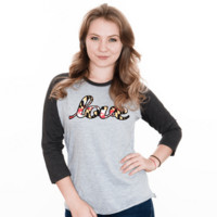 Maryland Love (Grey) / Ladies Baseball Tee