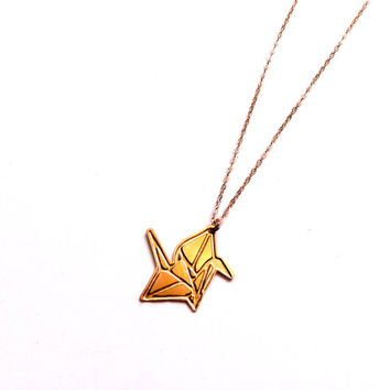 Origami Bird Necklace Gold Filled Necklace Origami Bird Icon Jewelry Design Logo Necklace Beep Jewelry Gold Plated Small Pendant Miniature