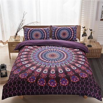 New Bohemian Pattern Bedding Set The National Peacock Elephant Printing Bedding 3pcs Quilt Cover Pillowcases Free Shipping.