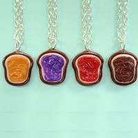 Handmade Realistic 4-Way Peanut Butter and Jelly Best Friend Necklaces