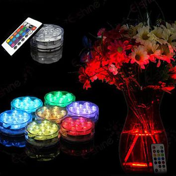 20piece/Lot RGB Submersible LED Waterproof  LED Accent Light w/ 24-key IR Remote for Wedding Centerpiece Halloween