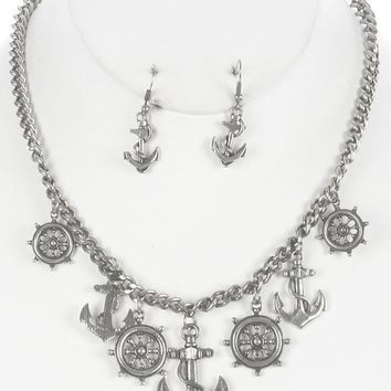 Sliver Aged Finish Metal Nautical Charm Chain Necklace And Earring Set