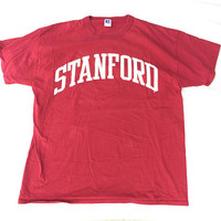 Vintage 80s Russel Red Stanford T Shirt XL