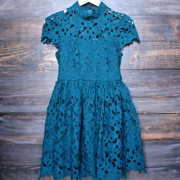 floral lace applique dress with cap sleeves in teal