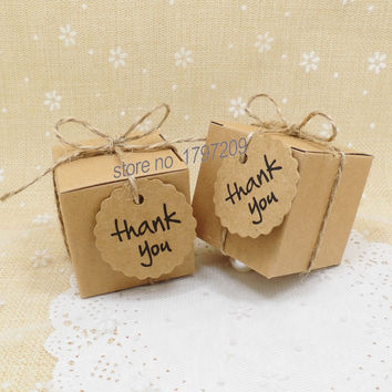 1pcs Natural brown Kraft Paper Wedding Candy Box with Thank You Tag rustic decor vintage wedding decoration gifts for guests