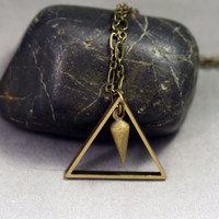 Geometric Triangle Necklace with Spike