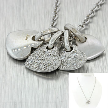 Pomellato 18k Solid White Gold .22ctw Diamond Heart Cluster Pendant Necklace