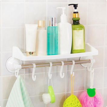 Powerful Suction Bathroom Racks Practical Corner Hanging Storage Towel Rack With Hook Toothbrush Holder Cup Organizer