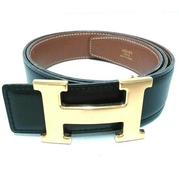 Auth HERMES H Belt Black Gold Leather & Metallic Material Circle Y Belt