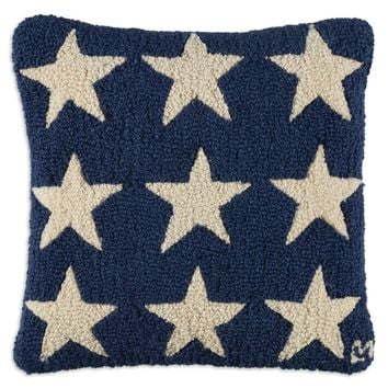 "Blue Fire Stars Hooked Wool Pillow 18""L X 18""W"