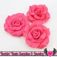 42mm Pink Polymer Clay Rose Flatback Cabochons ( 3 pieces )