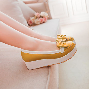 Women Wedges with Bowtie Platform Jelly Shoes