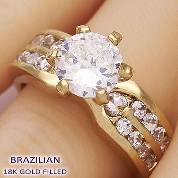 Gold Layered Women Wedding Ring, with White Cubic Zirconia, by Folks Jewelry