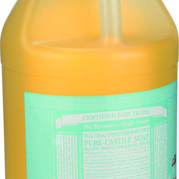 Dr. Bronner's Pure Castile Soap - Fair Trade And Organic - Liquid - 18 In 1 Hemp - Unscented - Baby Mild - 1 Gal  10% Off Auto renew