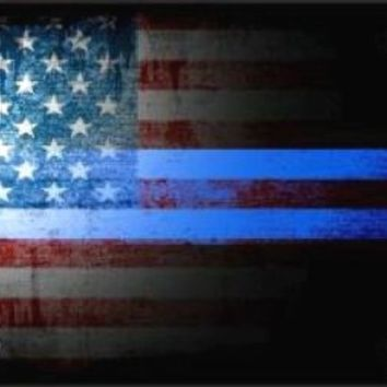 American Flag Police Thin Blue Line  Tag