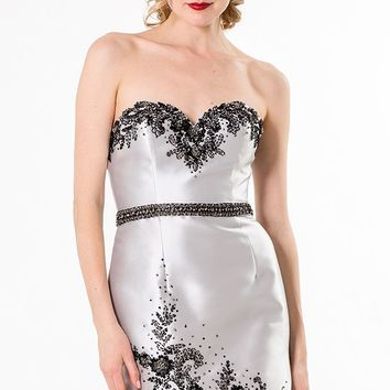 Strapless Lace Satin Dress by Terani Couture Evening