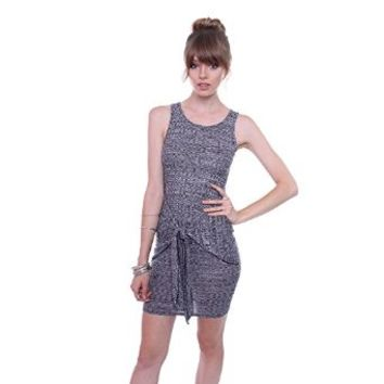 Poetry Women's L483 Ribbed Grey Bodycon Dress With Front Tie Knot