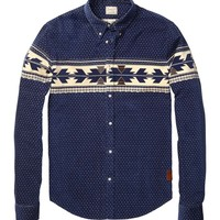 Corduroy Shirt With Placement Print - Scotch & Soda