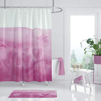 Pink Watercolor Shower Curtain - Waves of Love , unique, pink hearts, dip dye look, ocean, coastal,  painted, feminine bathroom