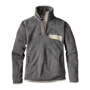 Patagonia, Women's Re-Tool Snap-T Fleece Pullover, Feather Grey - Ink Black X-Dye