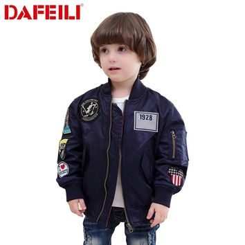 2017 Patches 2-12 years old Kids autumn bomber flight jacket ma-1 pilot air force baby boys windbreaker kids child baseball coat