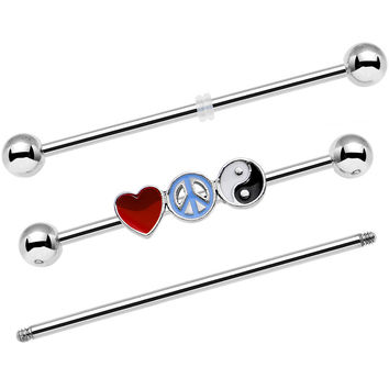 Yin Yang Peace Sign Love Heart Interchangeable Industrial Barbell Set