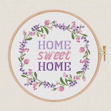 Home sweet home cross stitch pattern Lavender Helleborus flowers wreath cross stitch modern Round cross stitch Easy Counted Chart diy gift