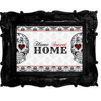 Sugar Skull Art Home Decor Welcome Home Sweet Home sign red and black damask Day of the Dead Printable Download 8x10 wall art skulls