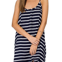 Blue Spaghetti Strap Striped Shift Mini Dress
