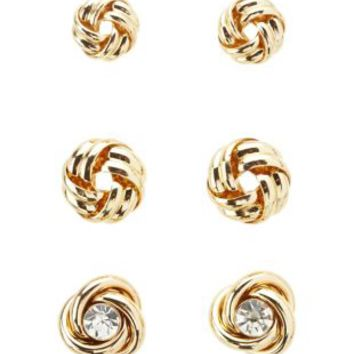 Gold Infinity Knot Stud Earrings - 3 Pack by Charlotte Russe