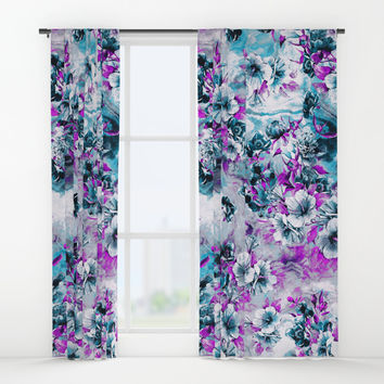 Frozen Flowers IV Window Curtains by VS Fashion Studio
