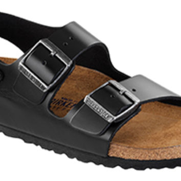 Milano Soft Footbed Black Amalfi Leather Sandals | Birkenstock USA Official Site